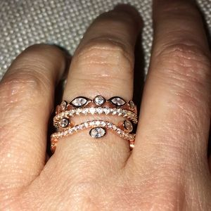 rose gold SS.925 CZ stackable rings